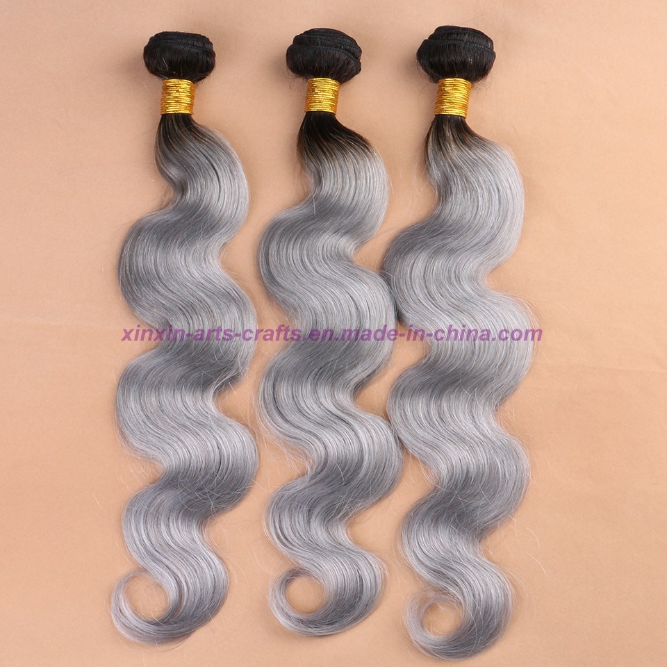 8A Grade Malaysian Grey Hair Weave Top Quality Body Wave Soft Ombre Human Hair Extensions