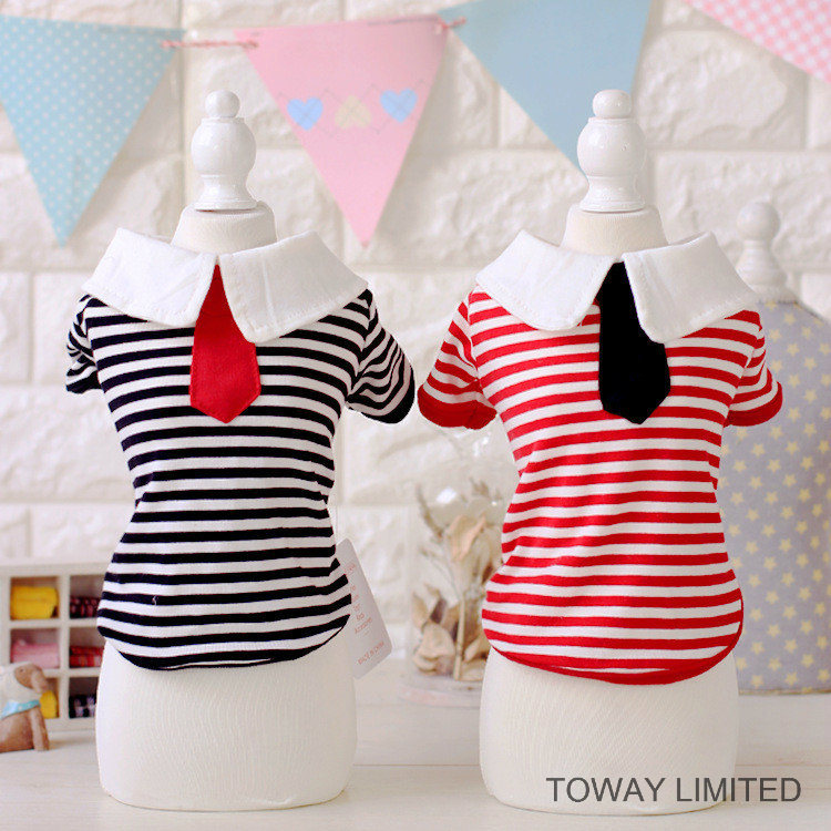Customized Stripes Tie Sailor Design Dog Clothes Colleague Pet Shirt