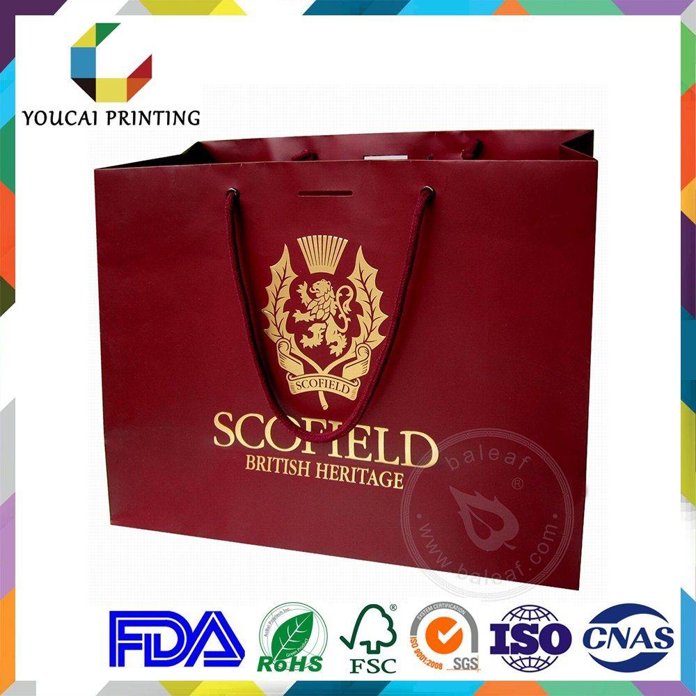 Fancy Rectangular Branded Garments Retail Bag with Custom Gold Embossed Logo