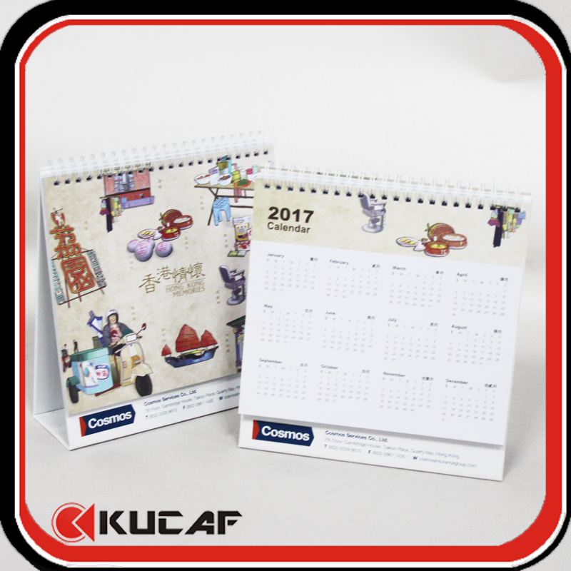Advertising Laser Die Cut & Gold Hot Stamping Pearl Paper Calendar 2018