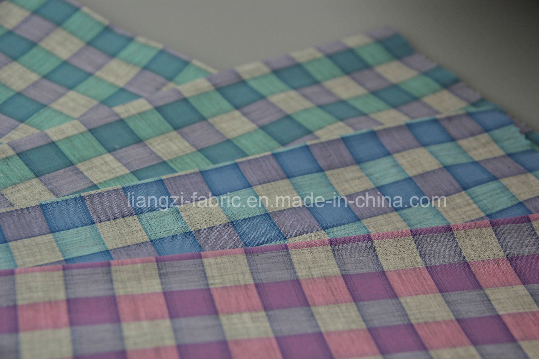 Cotton Yarn Dyed Melange Yarn Check Fabric (LZ7960)