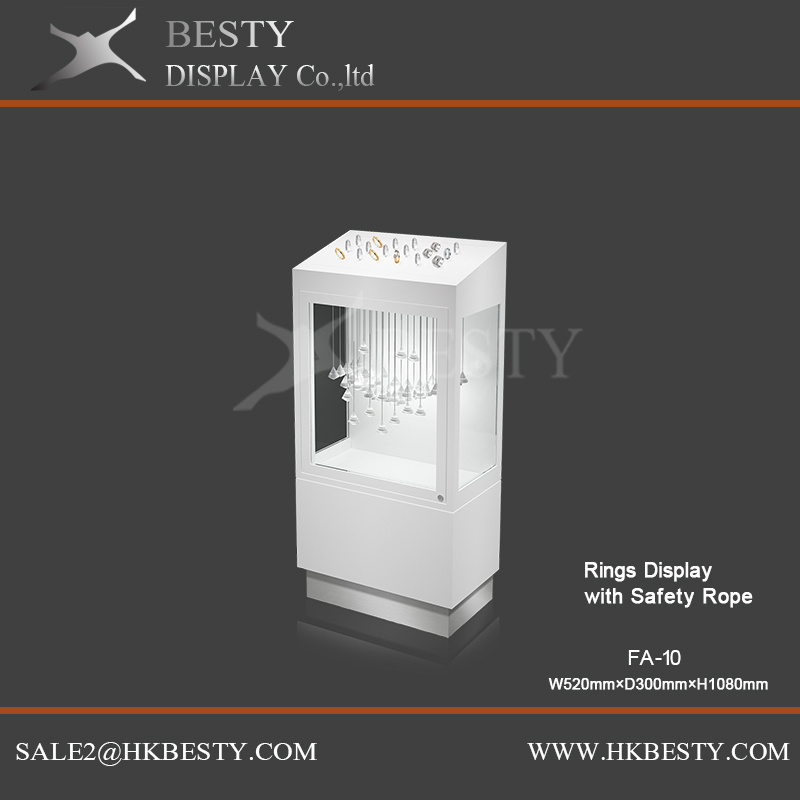 Safety Ring Display Shelf Showcase with LED Light