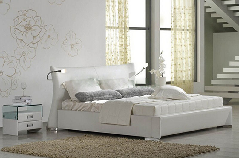 New Elegant Design Modern Genuine Leather Bed (HC1081) for Bedroom