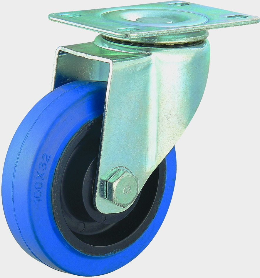 3/4/5 Inch Elastic Rubber Castor Wheels Noiseless Caster with Brake