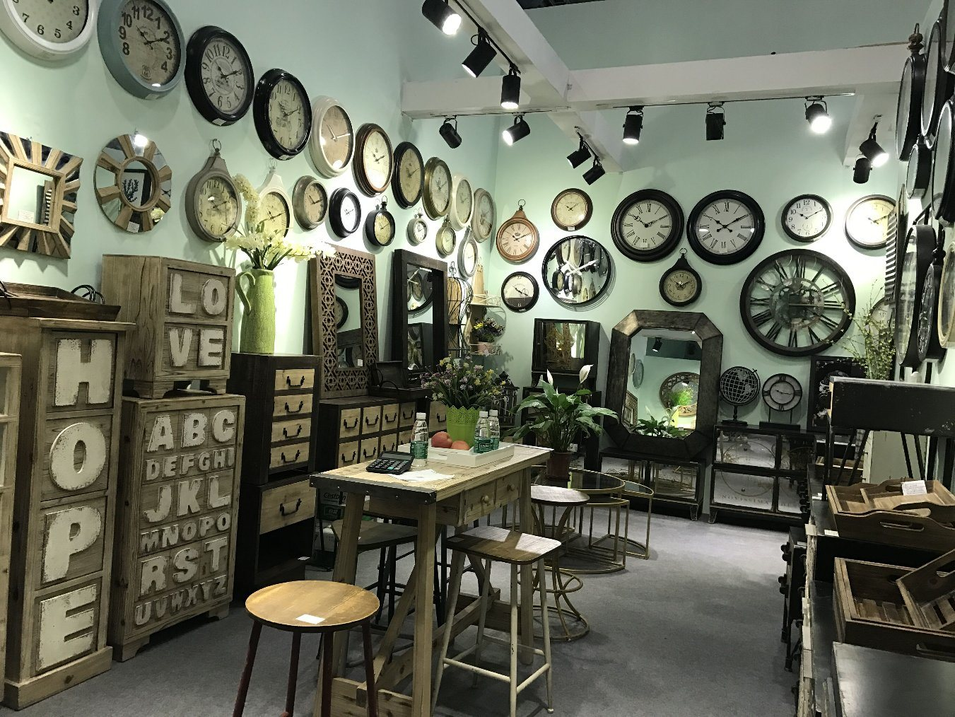 Country Style Wooden Furniture and Metal Clock