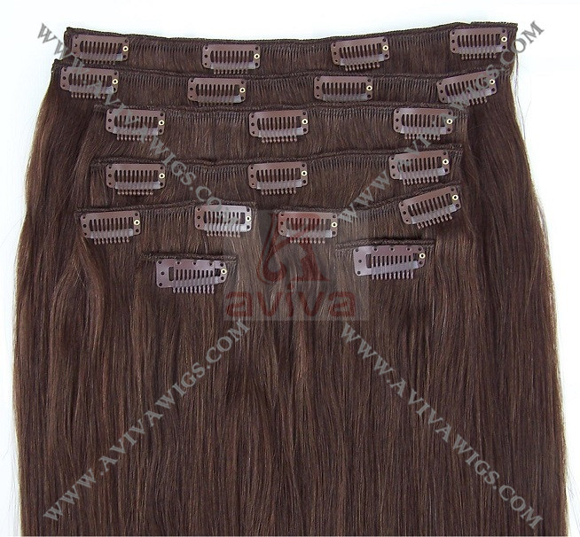 Human Hair Extension Clip in Hair