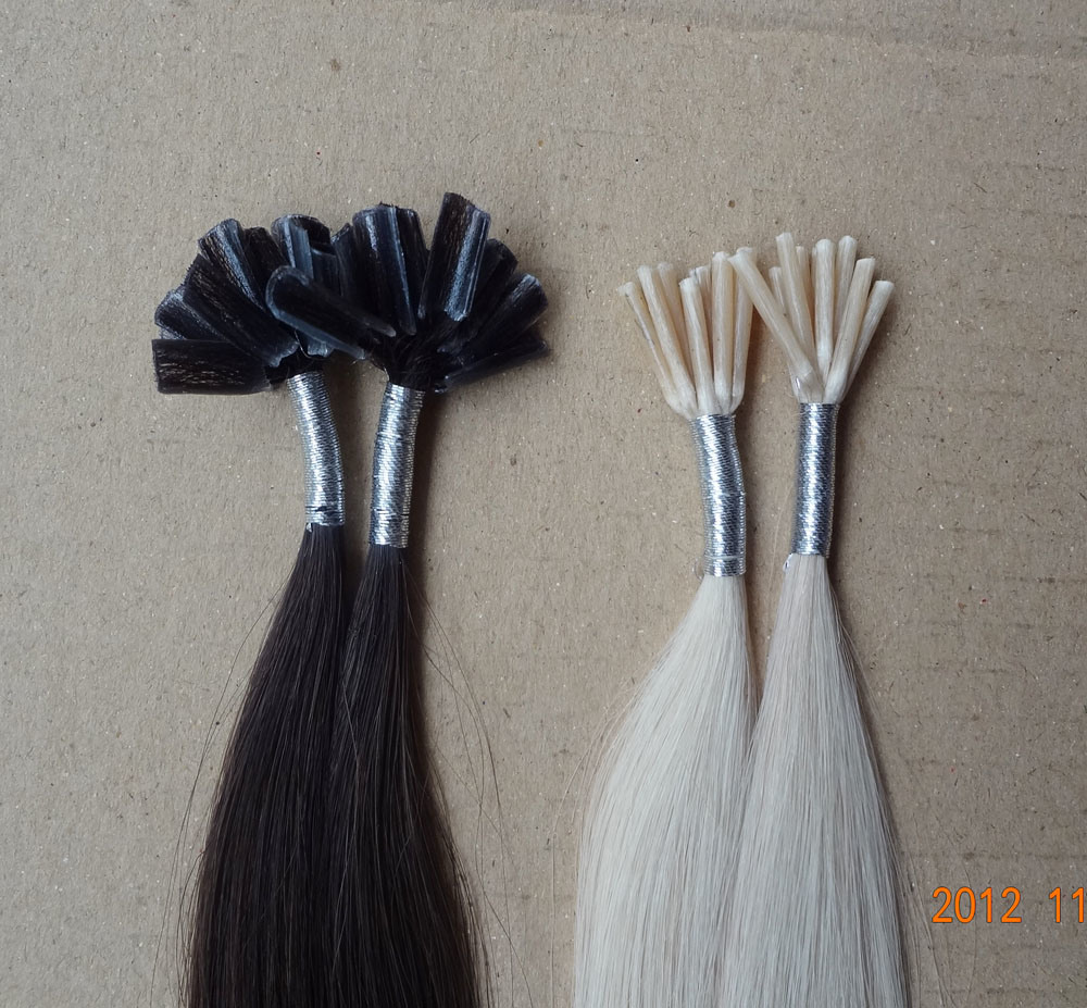100% Italian Keratin Pre Bonded Indian Remy Hair Stick I Tip Hair/Nail U Tip Hair