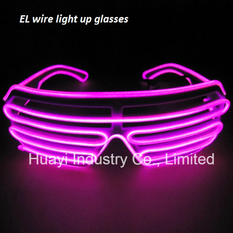 Electroluminescent Sound Activated Flashing Slotted Sunglasses Shutter Shades