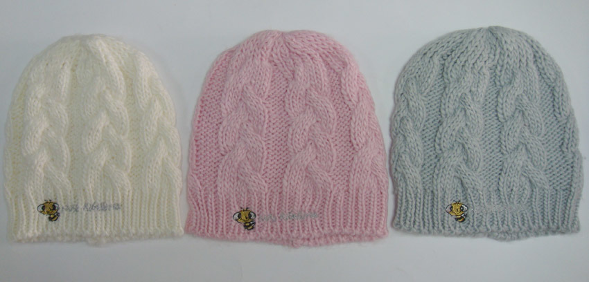 Knitting Patterns Baby Cable Hats : China Baby Knitting Hat With Cable Pattern and Embroidery (KBHY00350) - China...