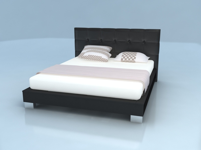 China Modern Wood Veneer Bed With Leather Headboard
