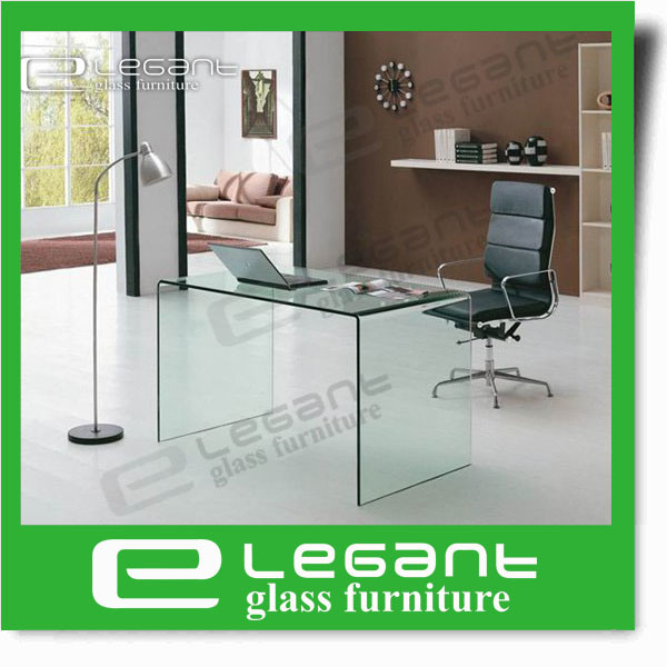 Clear Bent Glass Office Desk