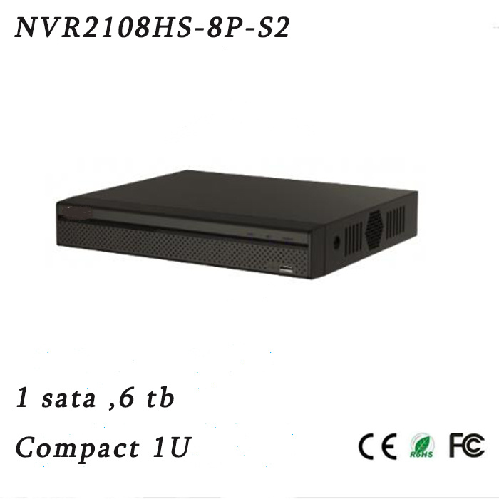 8 Channel Compact 1u 8poe Lite Network Video Recorder{NVR2108HS-8p-S2}