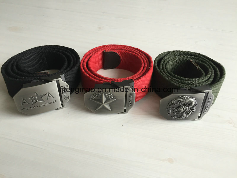 Military Belt with Metal Buckle