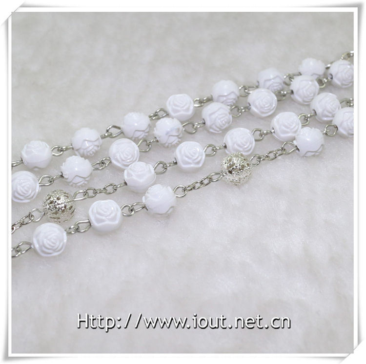Wholesale Latest Design Men′s Religious Plastic Bead Rosary Necklace (IO-cr351)