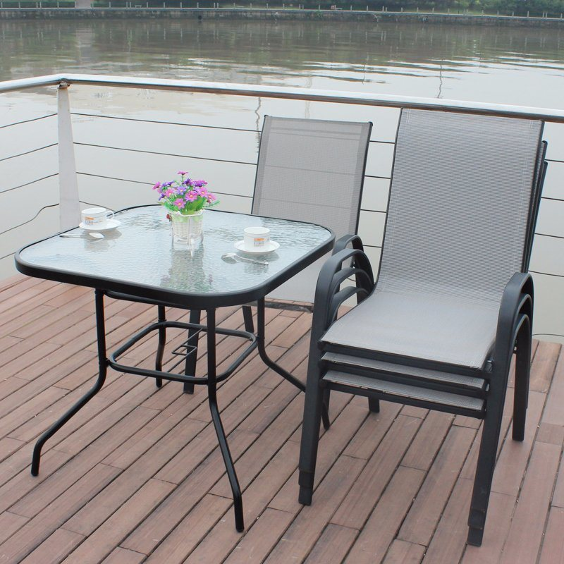 Patio Outdoor Furiture Textilene Chair Glass Table (J801)