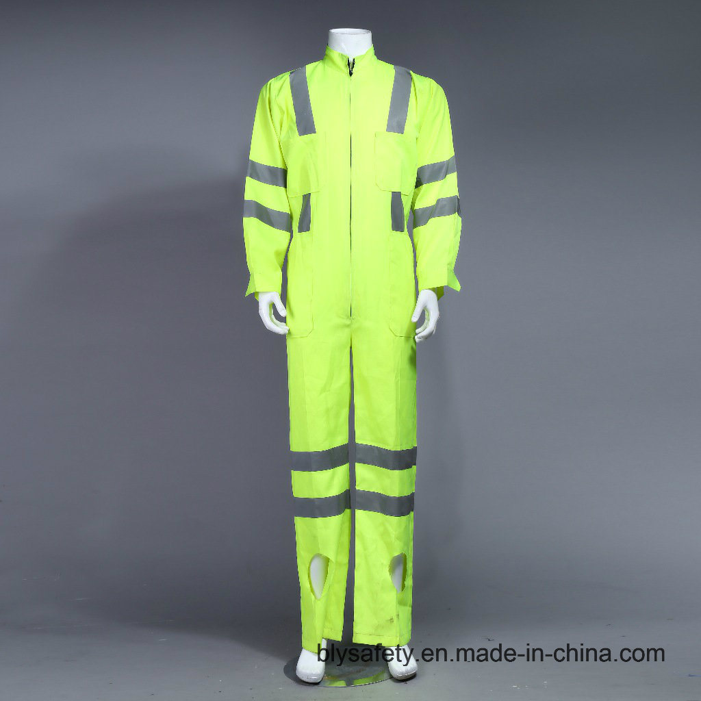 Poly Hi-Viz Reflective Long Sleeve Safety Coverall Uniform with Reflective Tape (BLY1008)