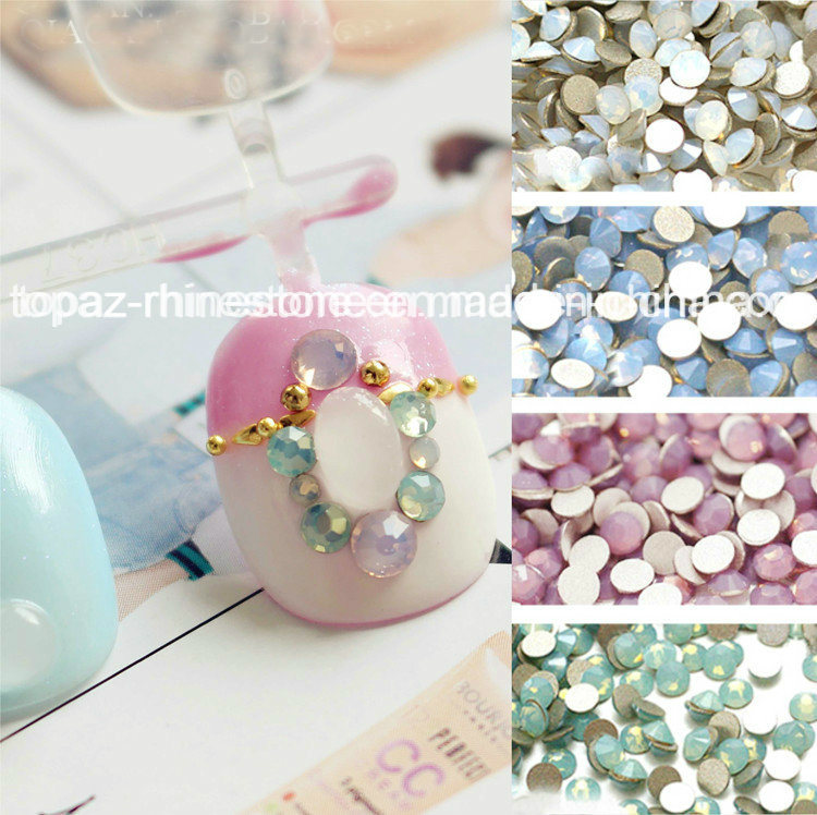 Non Hot Fix Glass Strass Stone for Nail Craft (FB-SS6 white oppal)