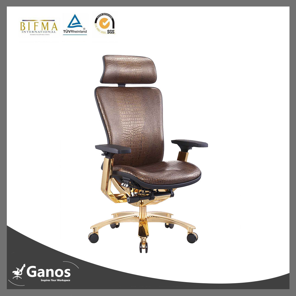 Full Leather Expensive Office Chair with Good Lumbar Support