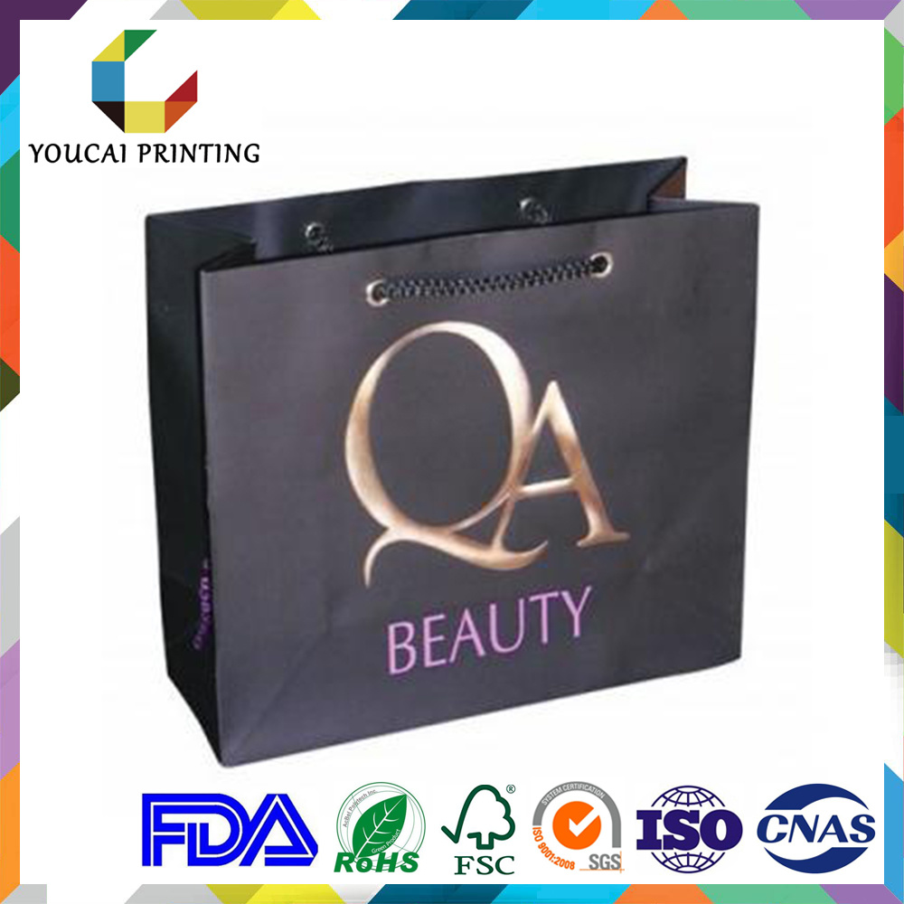 Fancy Rectangular Branded Garments Retail Bag with Custom Gold Embossed Logo