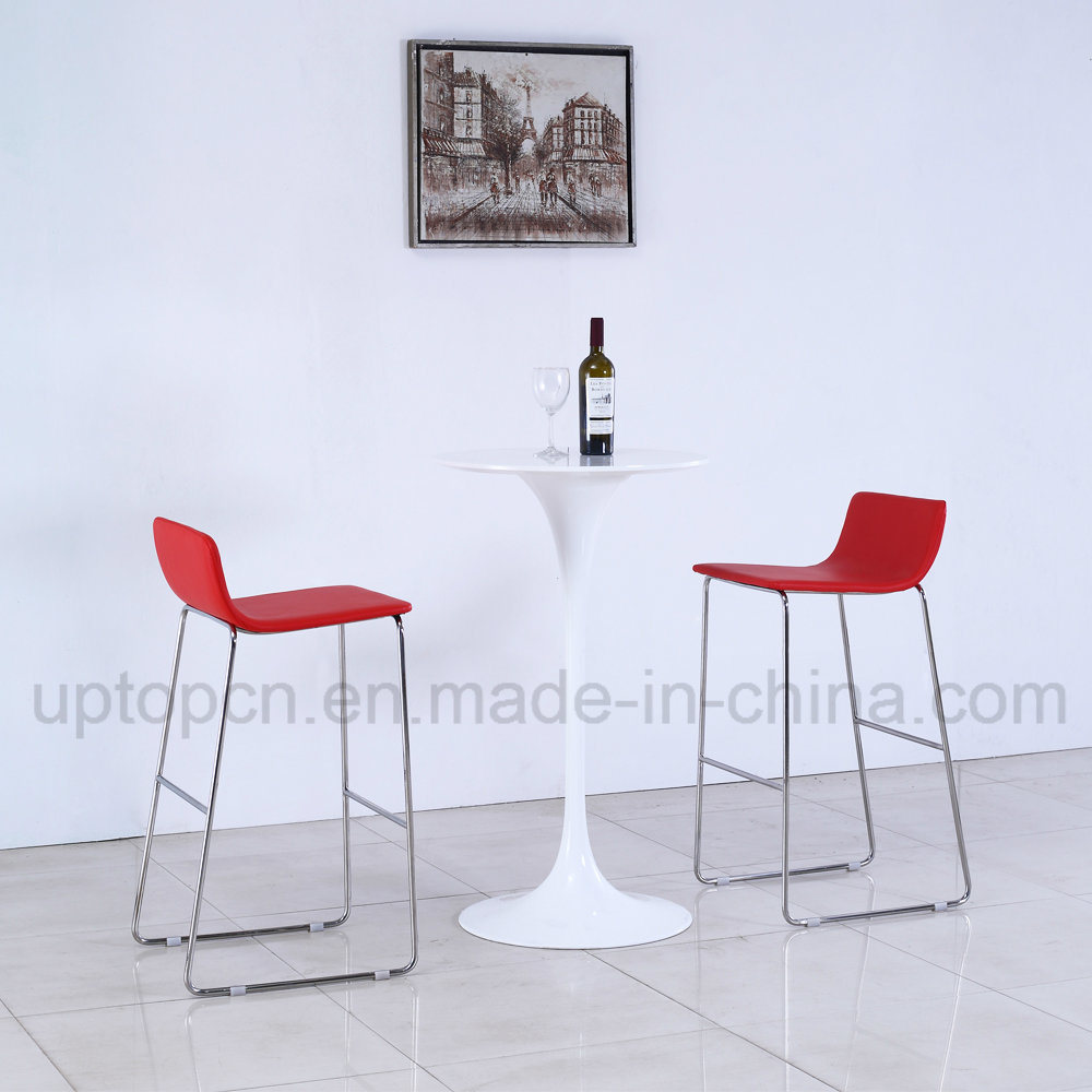 Fashion Pure White Round Bar Table with Red Bar Chair (SP-BT714)