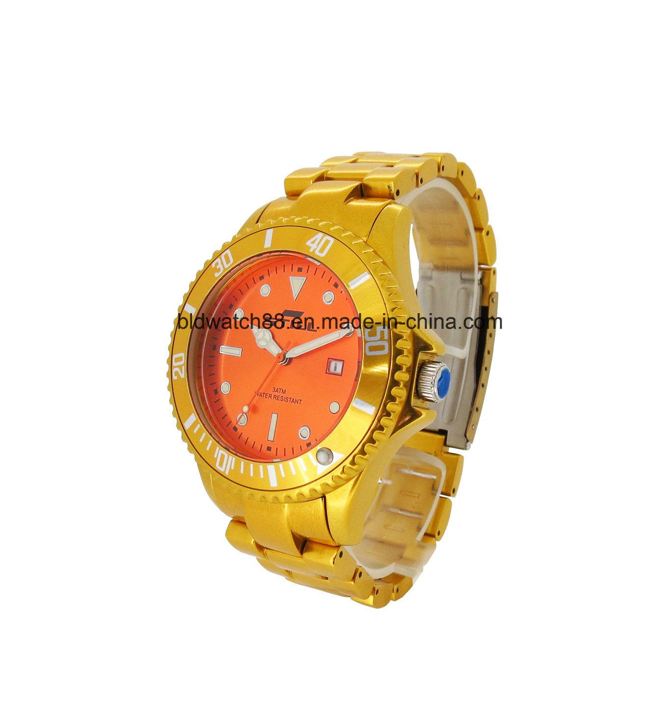 Luxury Mens Designer Metallic Wrist Watch Gold Tone