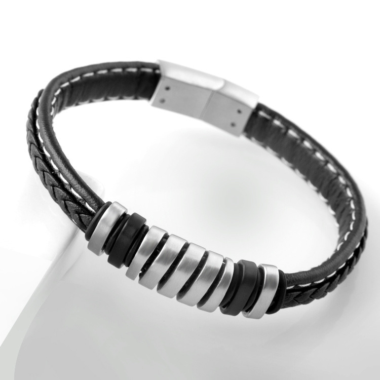 Personalized Fashion Stainless Steel Jewelry Men Striped Leather Bracelet