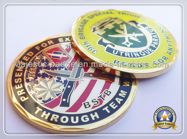 Customized Zinc Die Cast Gold Plating Hard Enamel Coin