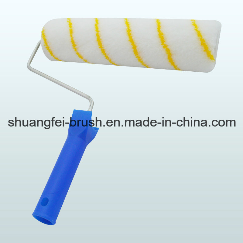 Yellow Stripe Paint Roller with Handle