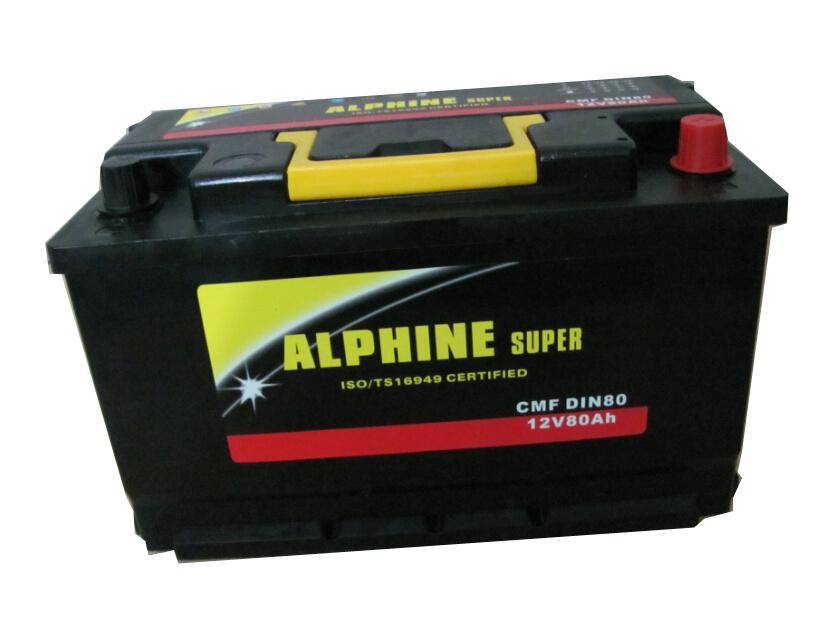 Car Battery DIN80 Mf/ Maintenance Free Car Battery