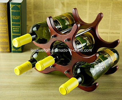 6-Bottle Wooden Fashion Decorative Wine Rack Modern Assembled