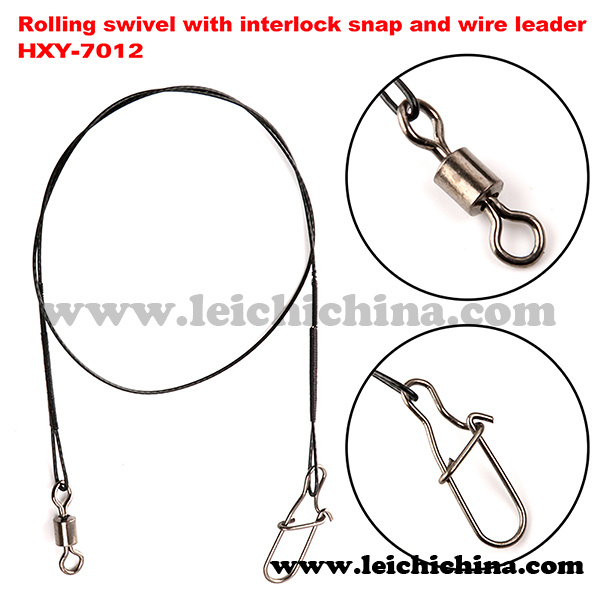 Rolling Swivel with Interlock Snap and Wire Leader