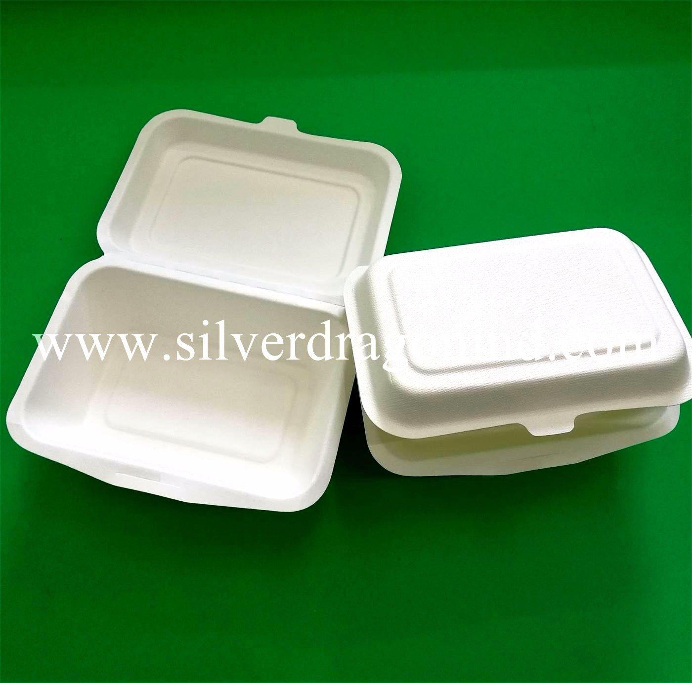 Compostable Biodegradable Tableware Sugarcane Bagasse Paper Clamshell