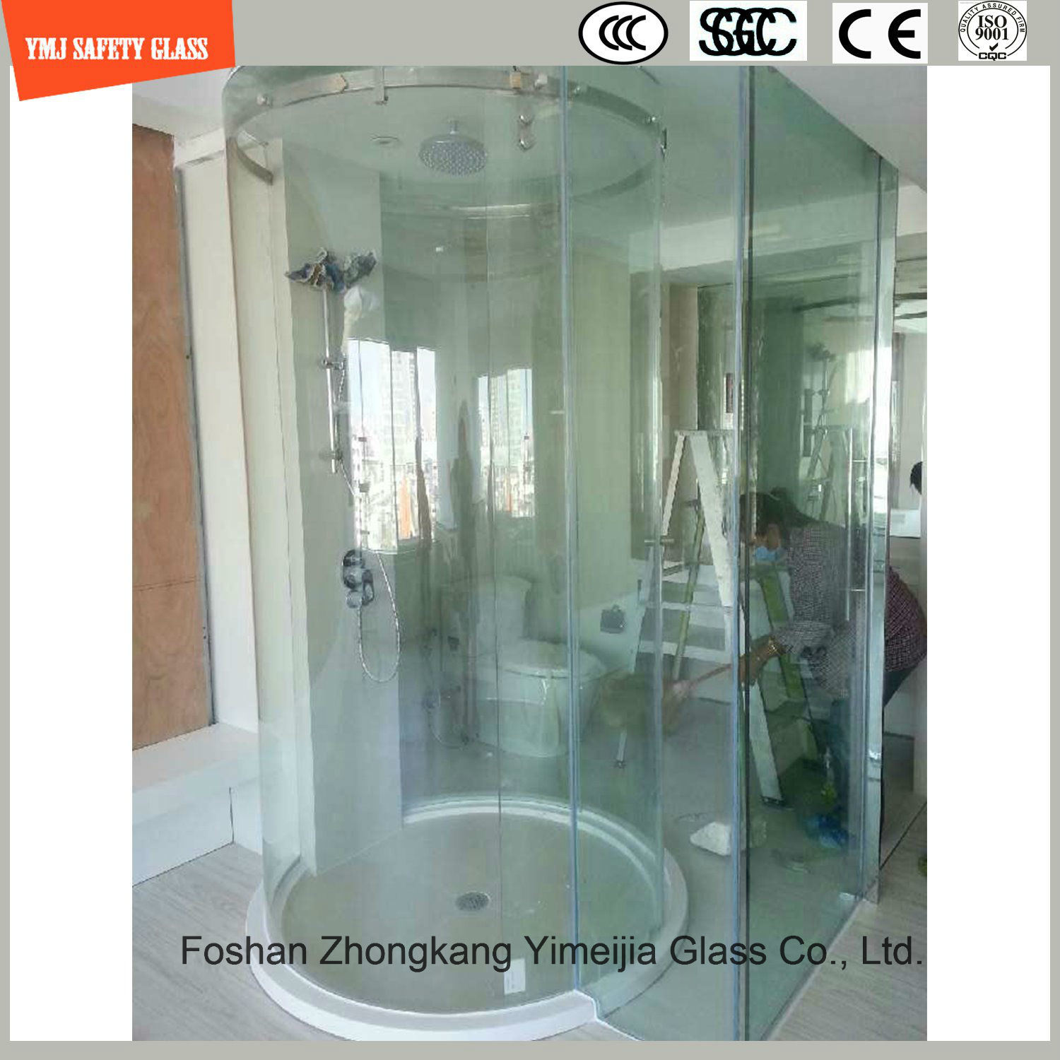 Hot-Bending Round Shower Glass