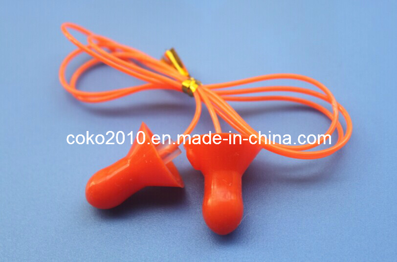 Bell Shape Silicon Wateproof Swimming Earplugs with Cord