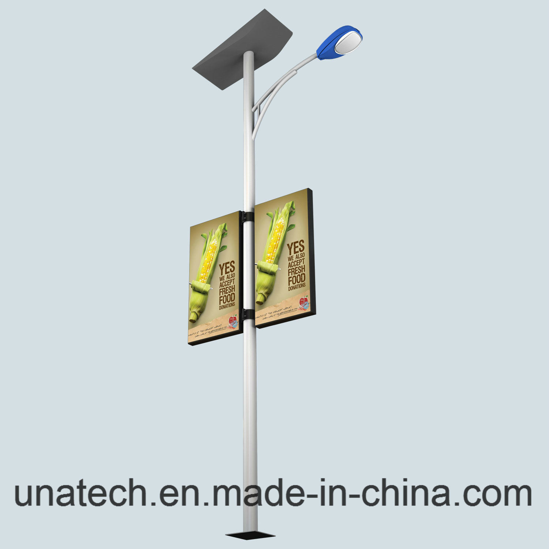 Solar Street Lamp Pole Outdoor Advertising Banner LED Light Box