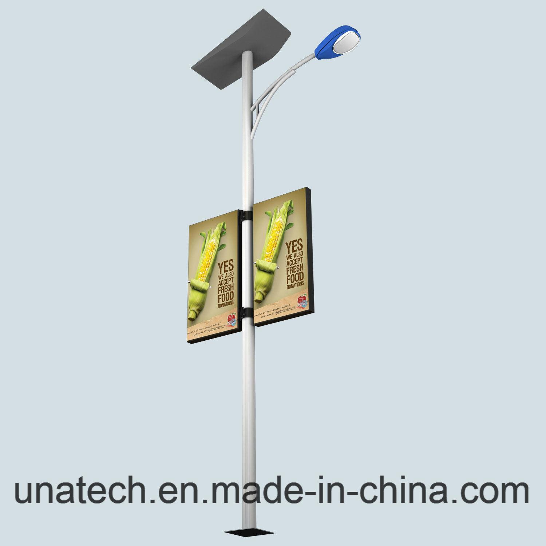 Solar Street Light Post Outdoor Advertising Alu. Frame Banner LED Light Box
