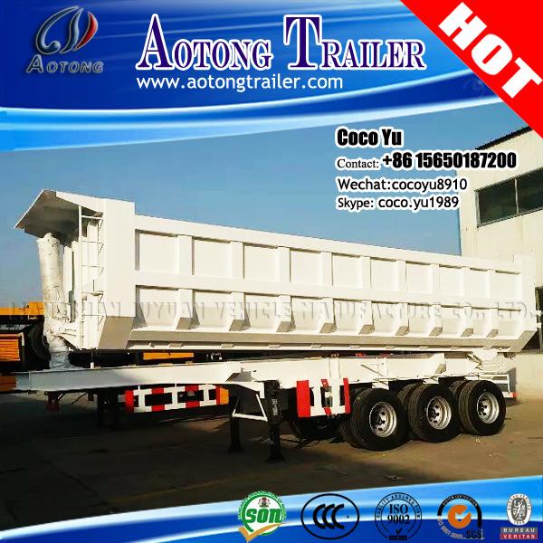 Tri Axles 50tons Havy Hydraulic Cylinder Tipper Semi Trailer Truck
