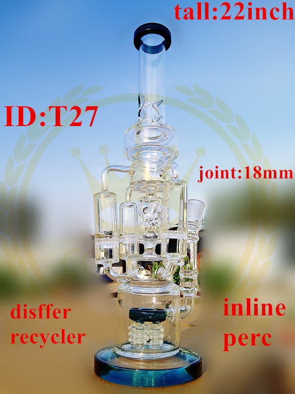 Corona Glass Tobacco Recycler Tall Color Bowl Glass Craft Ashtray Glass Pipes Heady Grinder Beaker 1bubble Glass Water Pipe