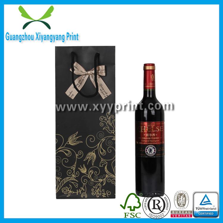 Custom Logo Print Craft Paper Wine Shopping Bag with Handle