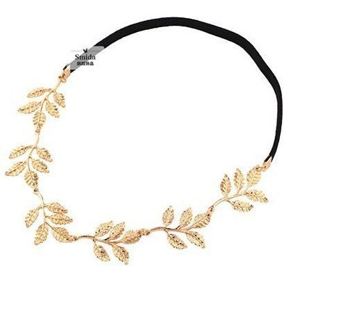 Retail Alloy Leaf Leaves Grecian Garland Forehead Head Hair Metal Band Headband Gold Olive Branch Accessory