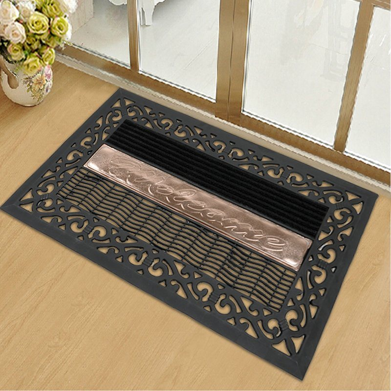 Heavy Duty Decorative Front Door PVC Plastic Welcome Home Entrance Door Floor Mats