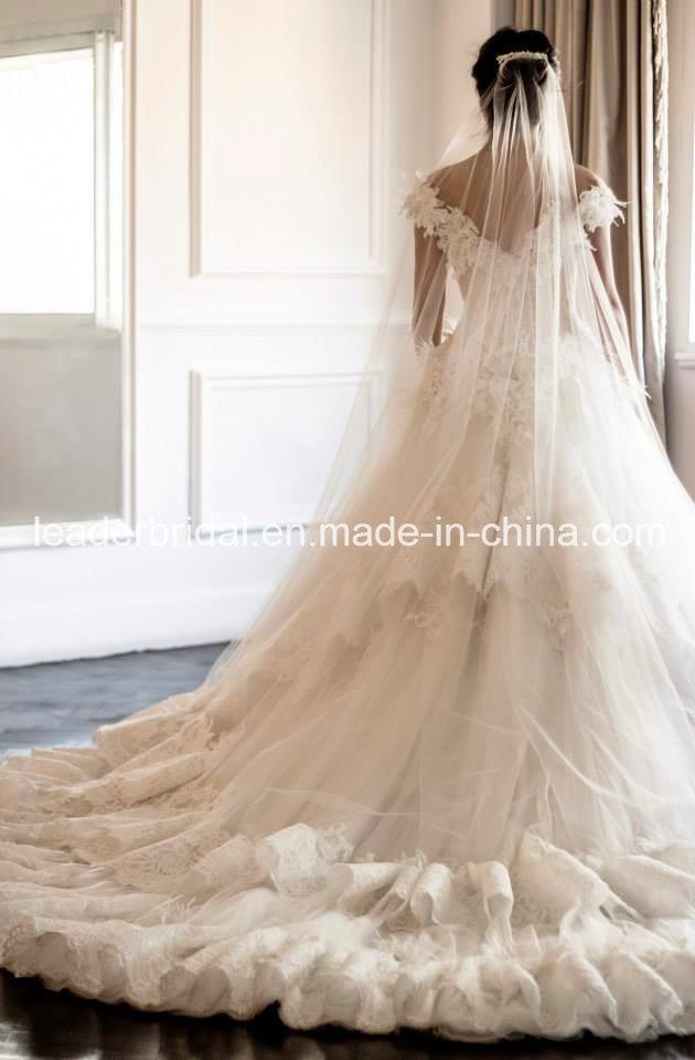 off Shoulder Lace Wedding Dress Fashion Vestidos Luxury Bridal Ball Gown Yasmine Ld11530
