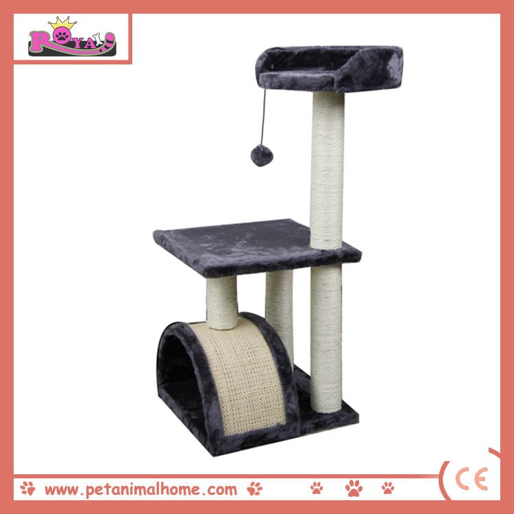 "32"" Cat Tree with Scratching Pad and Perch in Grey"