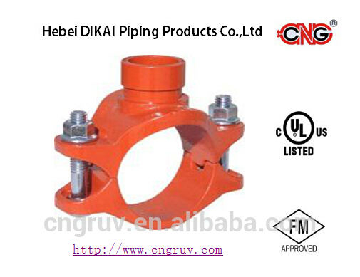 FM UL Approved Ductile Iron Grooved Fittings Tee/Mechanical Tee