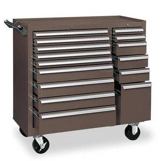 Westco G7425345 Rolling Tool Cabinet, 39-3/8in. Wx18 in. Dx39in. H, Brown