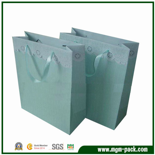 Elegant Custom Light Blue Promotional Paper Handbag