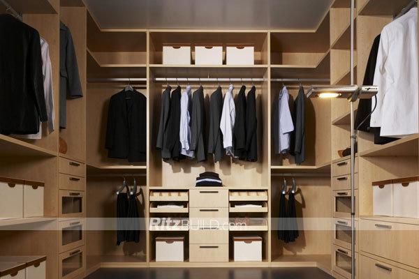 Space Save Simple Design Wooden Walk in Wardrobe