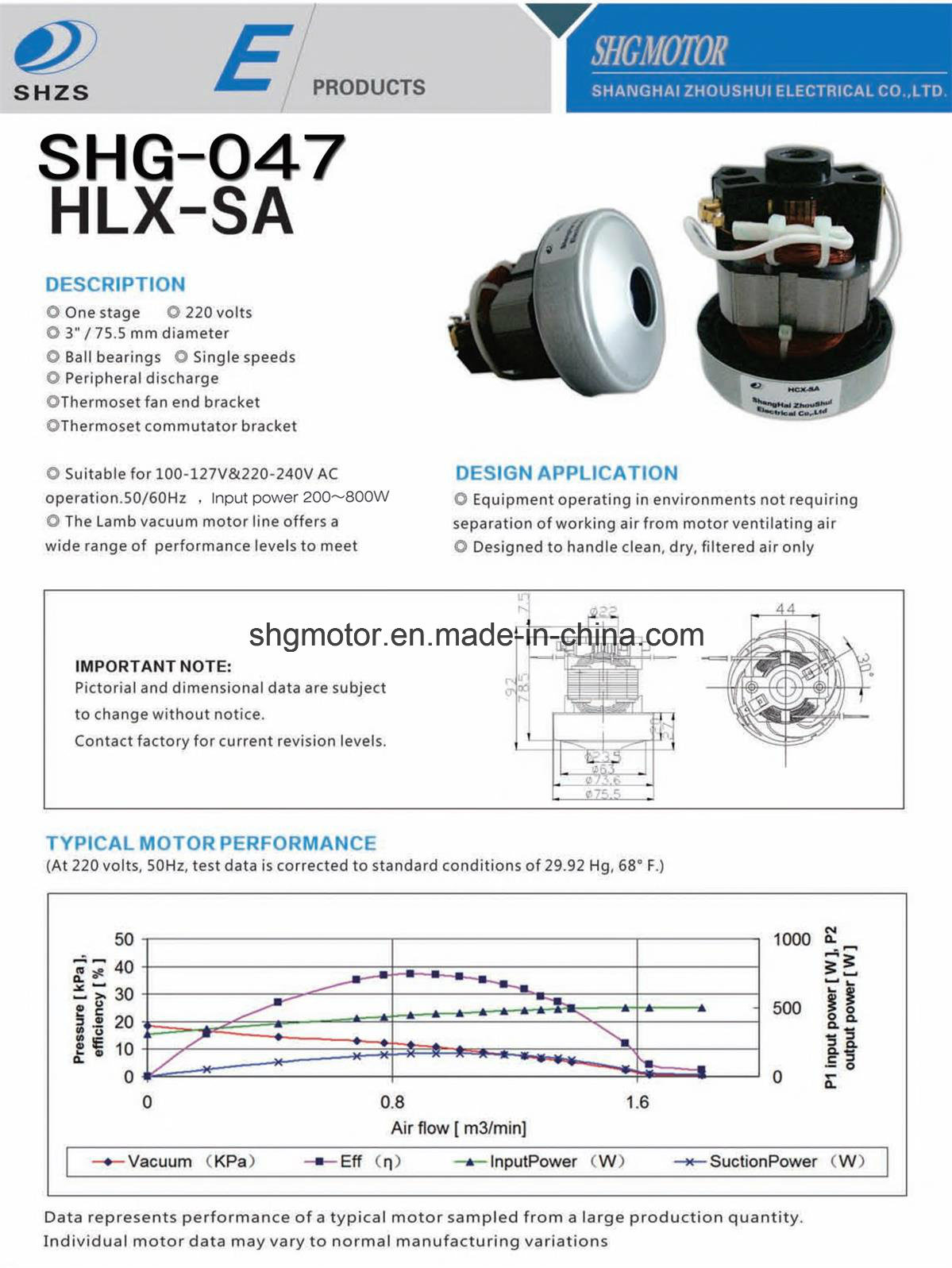 Hlx-SA Motor for Vacuum Cleaner