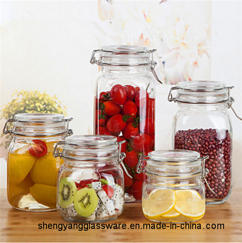 500ml-2000ml Wholesale Clear Glass Jar for Storage Food with Buckle