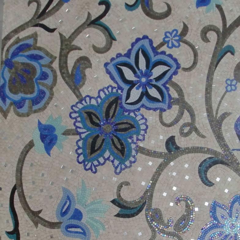 Flower Pattern Glass Mosaic Background Wall Decoration (P1)